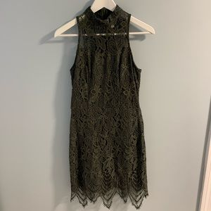 Xhilaration Olive Green Lace High Neck Dress